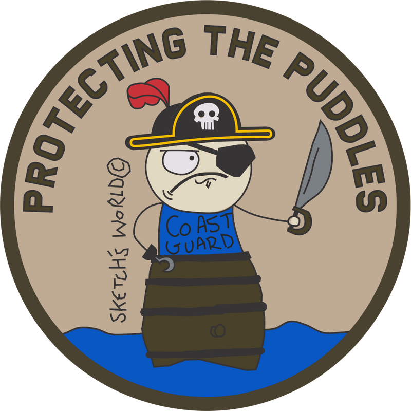 Tactical Gear Junkie Stickers Sketch's World © Protecting The Puddles - 3.5 Inch Sticker