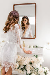 Enchanted Bridal Knee length Bridal Lace Robe