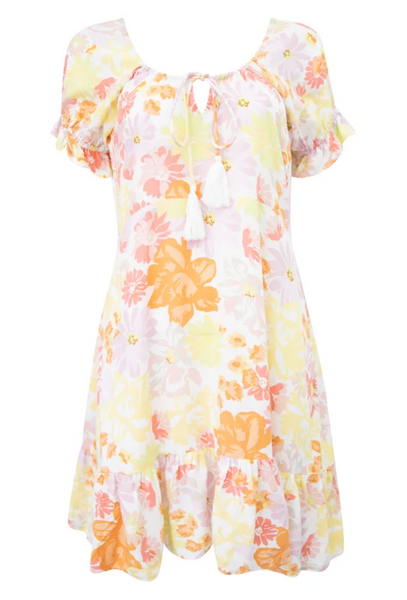 Orange and lemon floral dress