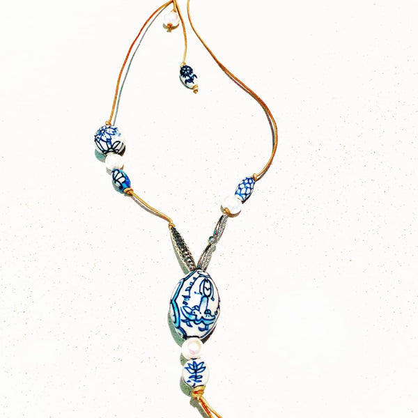 Blue China Pearl Necklace - Fig and Fi