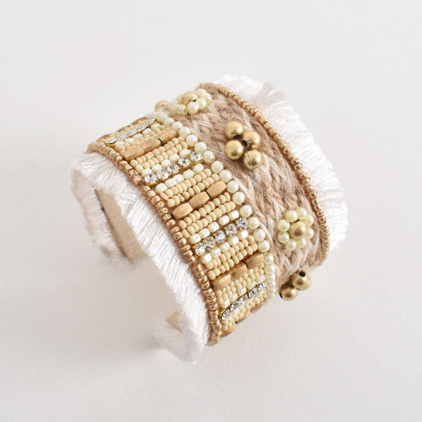 Goldy Beaded Fringe Cuff - Fig and Fi