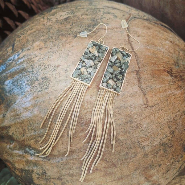 Hermione blue stone tassel earrings - Fig and Fi