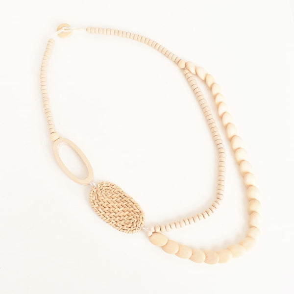 Rattan and Timber Necklace - Fig and Fi