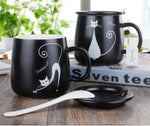 NEW Personality Cartoon Cat Mug Set. Comes with Cover & Spoon. 4 Designs