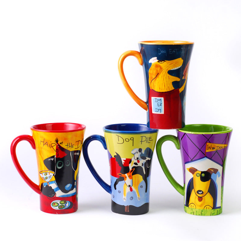 NEW  Dogs Hand-Painted High Mugs