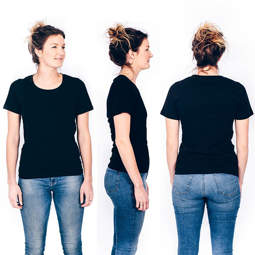 black t shirt women front and back