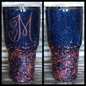 Navy Blue and Rose Gold Chunky Glitter Tumbler