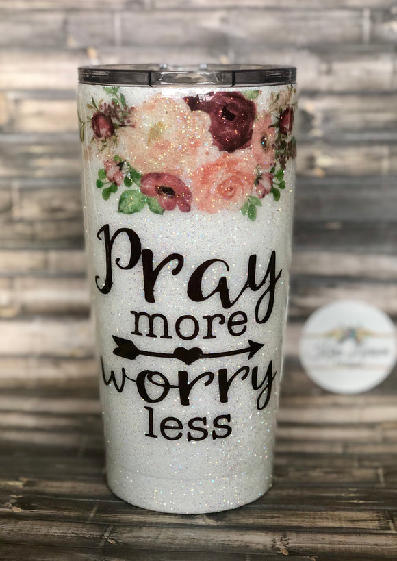 Pray More Worry Less Floral Glitter Coated Coffee Mug