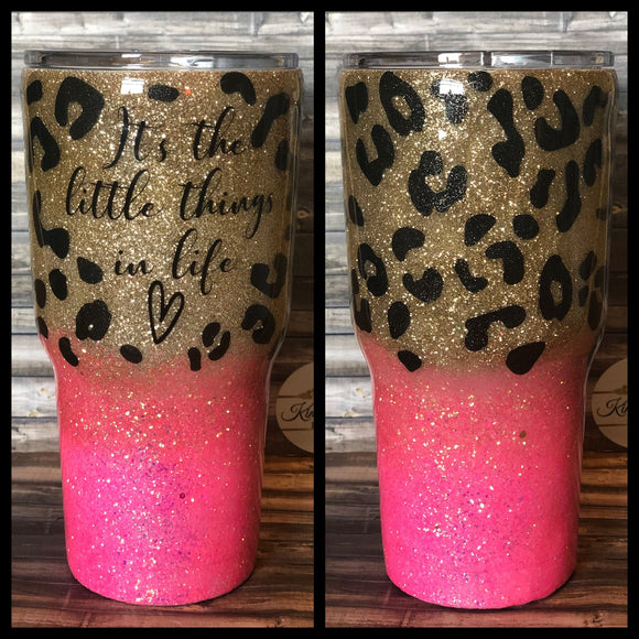 It's the Little Things in life Hot pink chunky Cheetah / Leopard print Glitter Tumbler