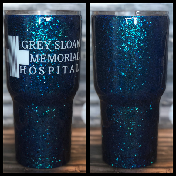 READY TO SHIP- 30 oz Blue Grey Sloan Memorial Glitter Tumbler