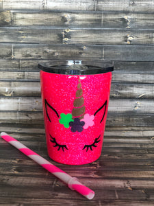Hot Pink Unicorn Face Glitter Tumbler KIDS CUP!