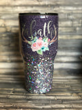Lilac to Silver Floral Deer Antlers Chunky Glitter Tumbler