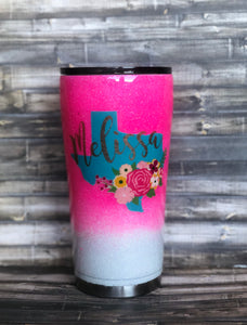 Hot Pink and White Floral Texas Glitter Tumbler