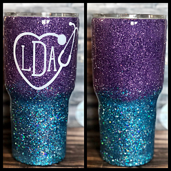 Purple and Teal Ombre Glitter Tumbler