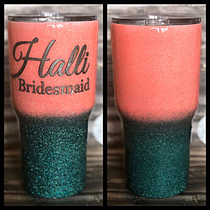 Coral to Teal Ombre Glitter Tumbler