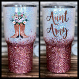 Floral Cowgirl Boots Glitter Tumbler- White and Rose Gold