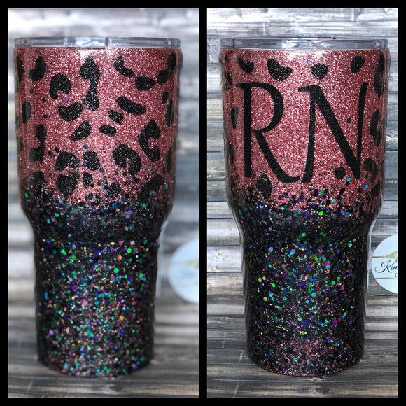 8dc405996a1 Rose gold and black Cheetah / Leopard print chunky Glitter Tumbler