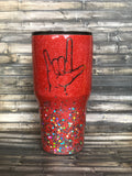 ASL- Sign Language - I love You Hand Sign Ombre Glitter Tumbler