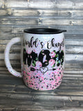 Worlds Okayest Mom Floral Glitter Coated Coffee Mug