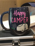 Happy Camper - Stars and Trees Glitter Coated Coffee Mug or Tumbler
