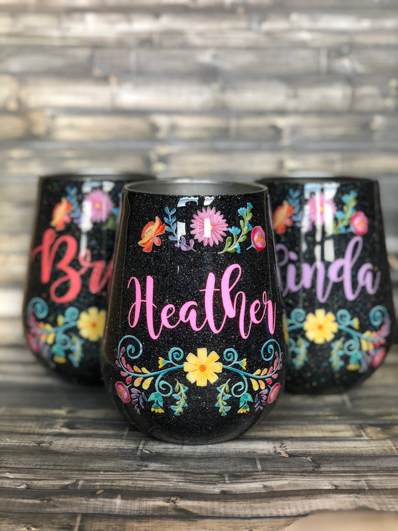 Bright Mexican Flower Glitter Tumbler