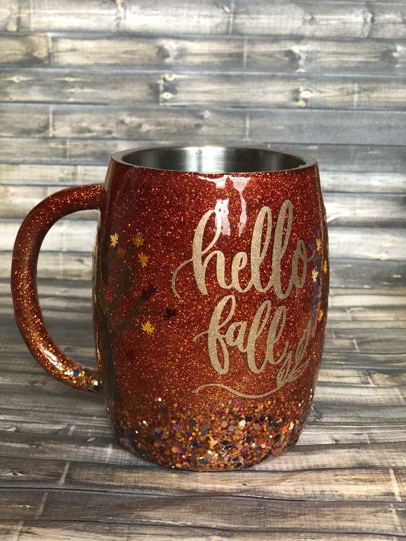 Hello Fall Glitter Coated Coffee Mug or Tumbler