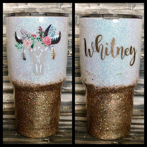 Floral Cow Skull White to Gold Chunky Glitter Tumbler
