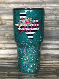 Striped State of Texas Glitter Tumbler