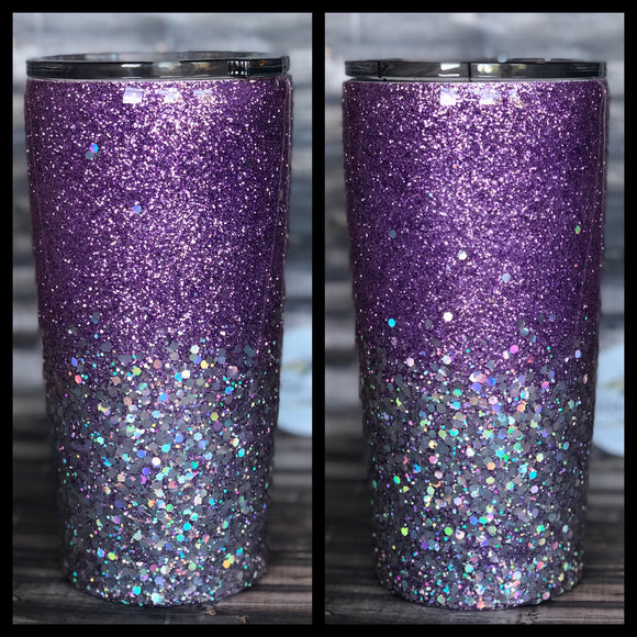 Lilac to Silver Chunky Glitter Tumbler
