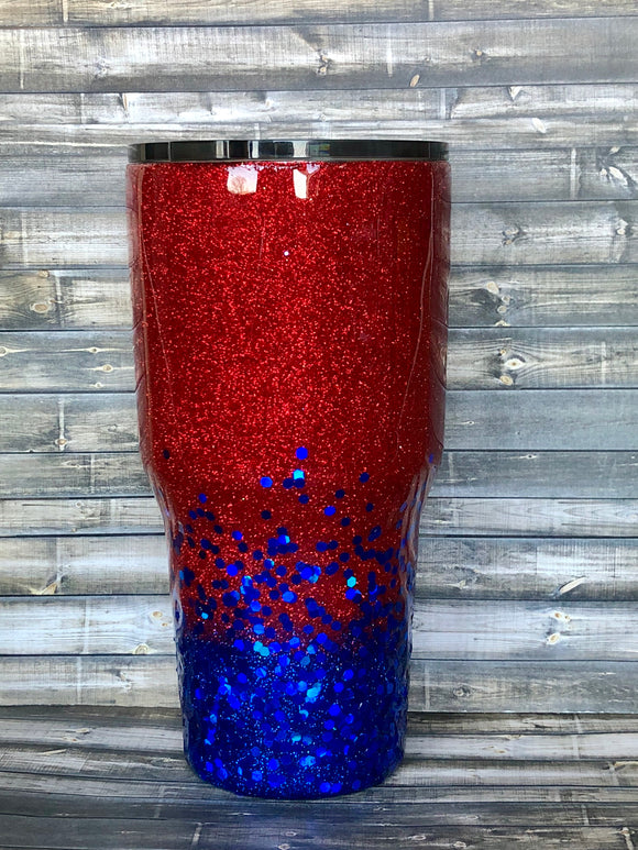 Red to Chunky Royal Blue Ombre Glitter Tumbler