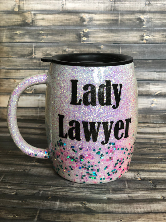 Lady Lawyer Glitter Tumbler