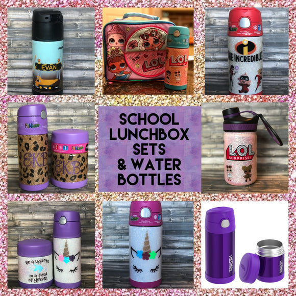 Kids School Thermos Lunch Sets and Water Bottles