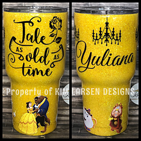 Beauty and the Beast Glitter Tumbler
