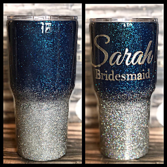 Blue to Holographic Silver Ombre Glitter Tumbler