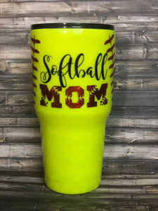 Softball Mom Glitter Tumbler