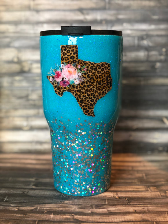 Leopard print Texas turquoise Chunky Glitter Coated Tumbler