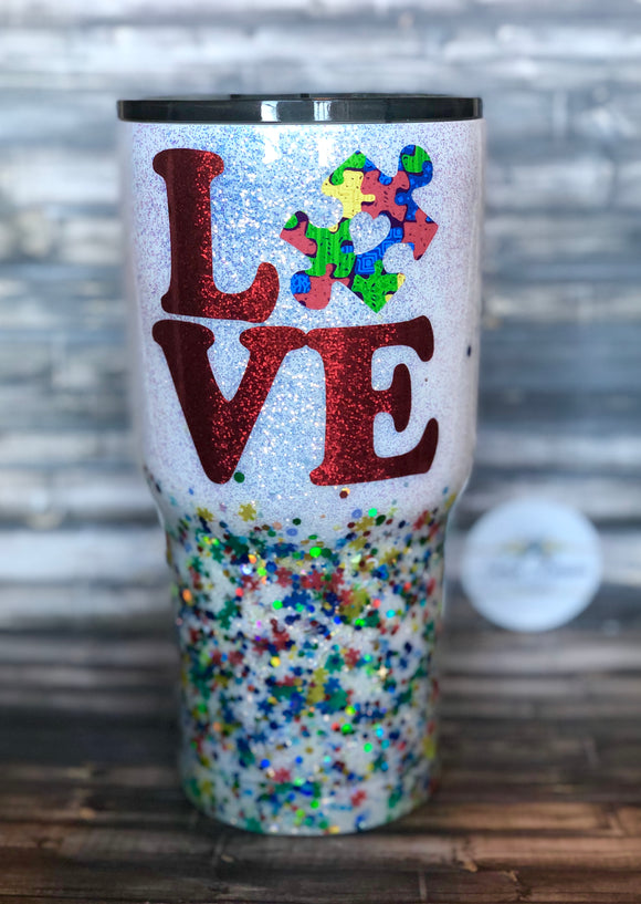 Autism Awareness LOVE Chunky Glitter Coated Tumbler