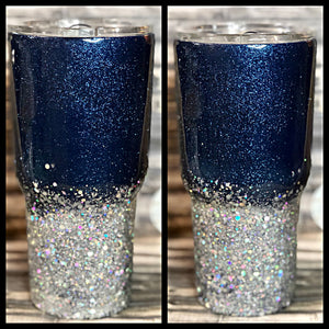 Navy Blue and Silver Chunky Ombre Glitter Tumbler