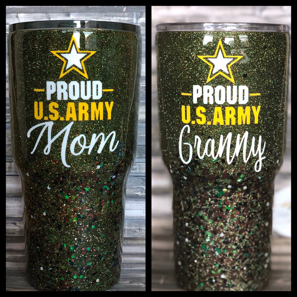 Army Mom, Army Wife Glitter Tumbler