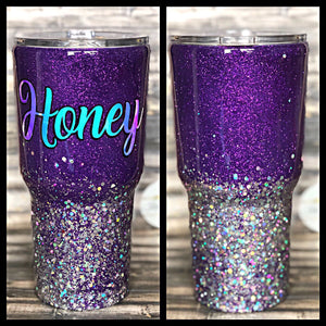 Royal Purple to Rainbow Silver Chunky Ombre Glitter Tumbler
