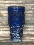 Royal Blue to Rainbow Silver Chunky Ombre Glitter Tumbler