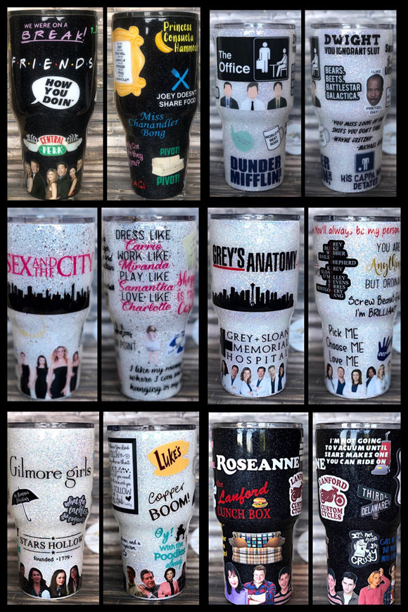 Create Your Own Custom TV SHOW/MOVIE/ARTIST Glitter Tumbler