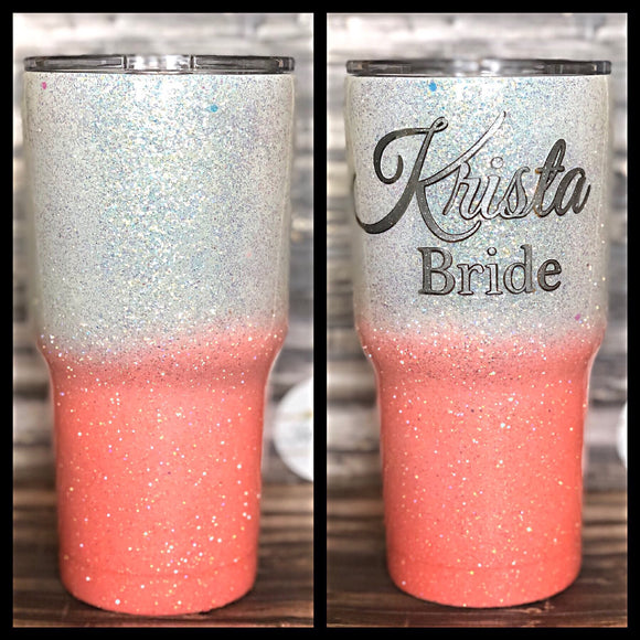 White Opal to Coral Ombre Glitter Tumbler