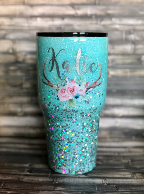 Tiffany Blue Floral Deer Antlers Chunky Glitter Tumbler