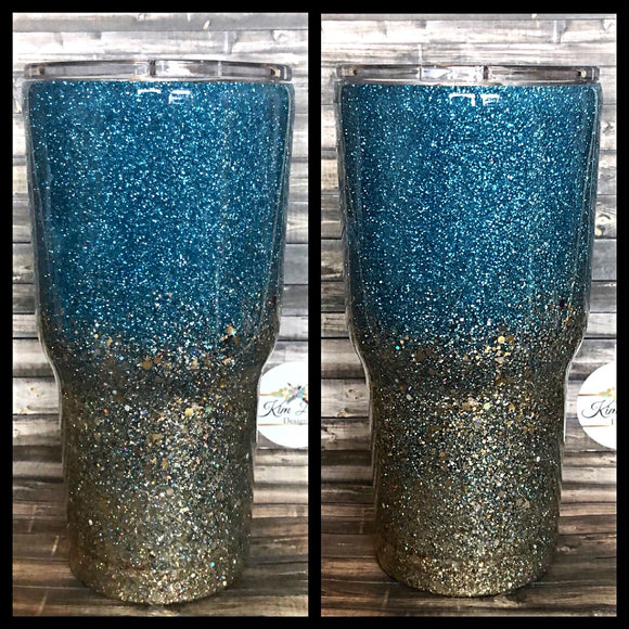 Teal to Gold Ombré Glitter Tumbler