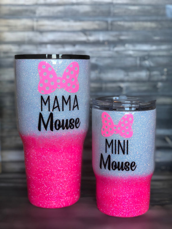 Mom and Me- Mama Mouse and Mini Mouse Ombre Glitter Tumbler