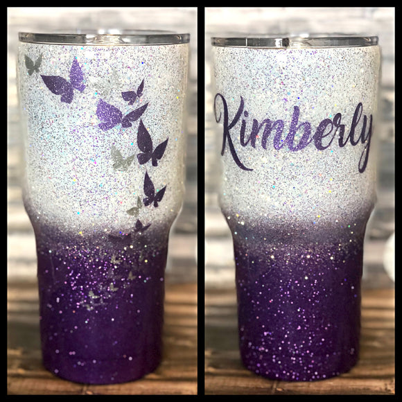 Purple and White Butterfly Glitter Tumbler
