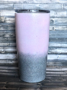 Light pink to holographic silver Ombre Glitter Tumbler