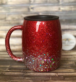 Red to Silver chunky Ombre Glitter Tumbler