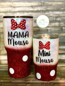 Mama Mouse and Mini Mouse Red Ombre Glitter Tumbler